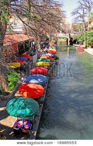 the San Antonio riverwalk and its many colorful sites