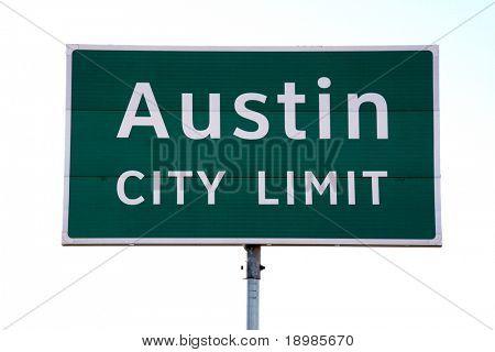 Una señal de límite de ciudad de Austin que ves cuando iba a Austin, TX.  Se trata de un símbolo popular de