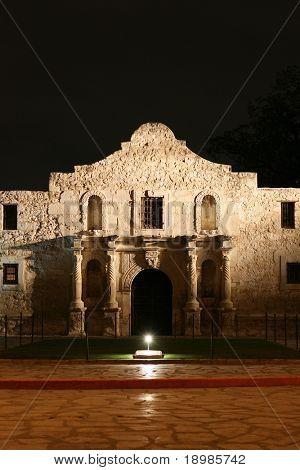 Alamo lit up at Night in San Antonio texas