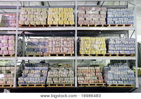 Pile of food production stacked in warehouse