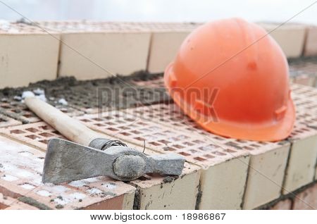 Construction equipment for brick building work helmet trowel and pecker