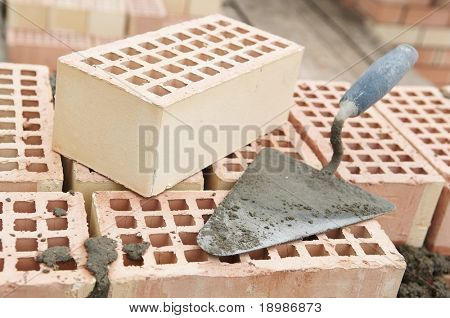 Construction equipment for brick building work trowel
