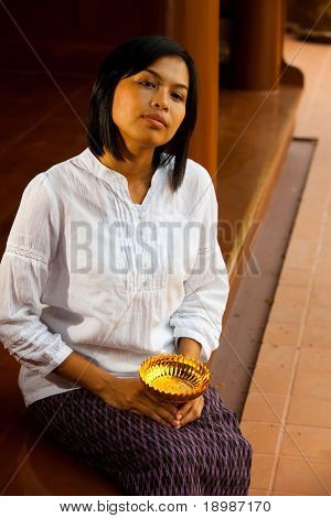 Beautiful Woman On Traditional Thai Porch