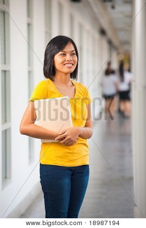Smiling Cute Asian Girl Book Campus