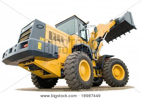 One Loader excavator construction machinery equipment isolated