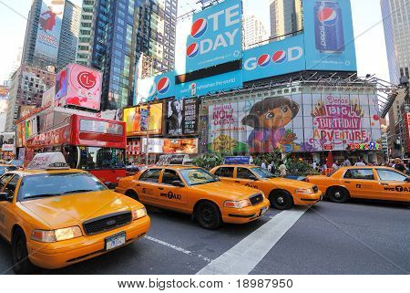 Crown Victoria Taxis in Times Square