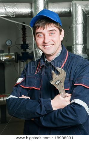 Cheerful maintenance engineer of heating system equipment in a boiler room