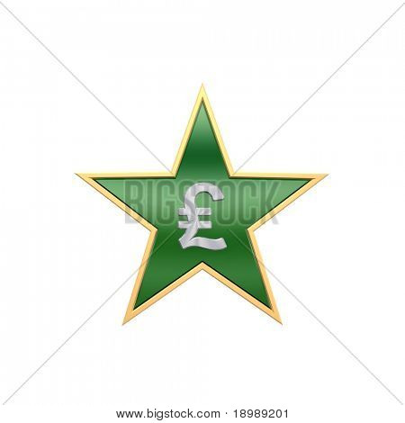 Chrome Pound sign in the star isolated on white. Computer generated 3D photo rendering.