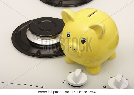 Piggy bank with a gas hob (saving natural gas)