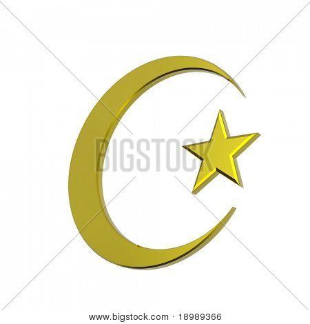 Signo religioso islámico oro aislado en blanco. renderizado 3D en computadora foto generado.