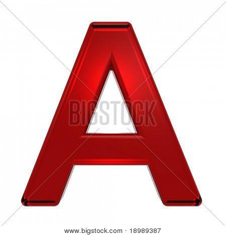 ein Brief von Ruby Alphabet Satz, isoliert auf weiss. Computer generierte Foto 3D-Rendering.