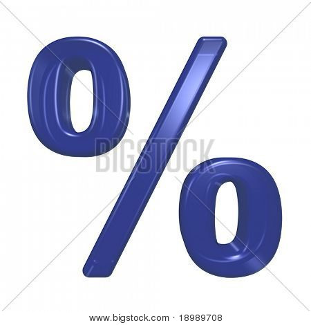 Percent sign from blue glass alphabet set, isolated on white. Computer generated 3D photo rendering.