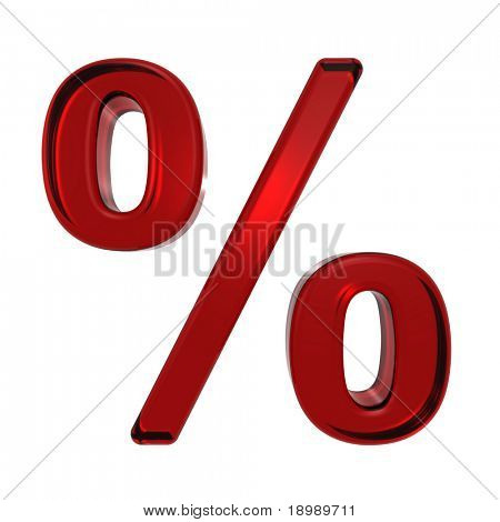 Percent sign from ruby alphabet set, isolated on white. Computer generated 3D photo rendering.