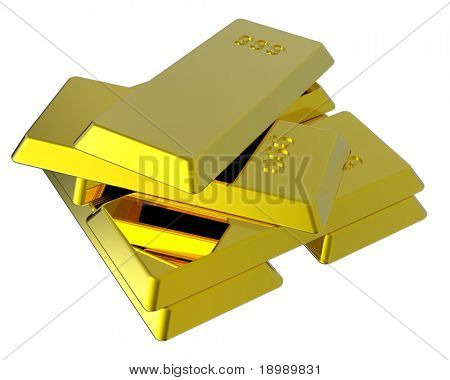 Gold ingots isolated on white. Computer generated 3D photo rendering.