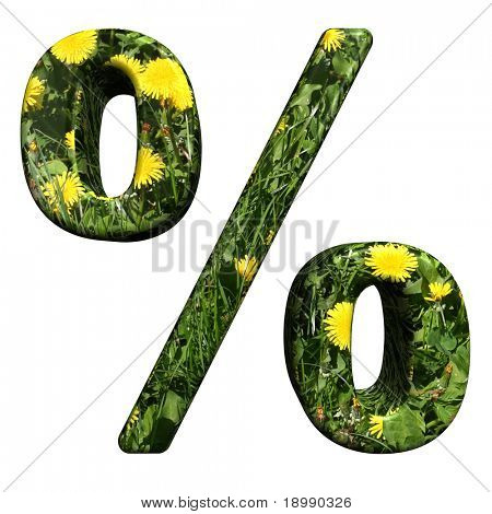 Percent sign from floral alphabet set, isolated on white. Computer generated 3D photo rendering.
