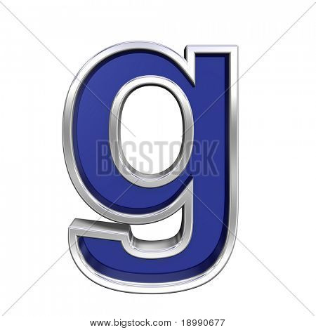 One lower case letter from blue glass with chrome frame alphabet set, isolated on white. Computer generated 3D photo rendering.