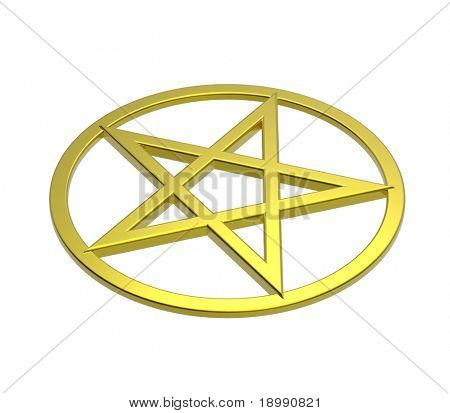 Gold pentagram isolated on white. Computer generated 3D photo rendering.
