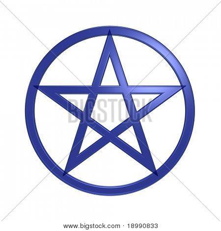 Pentagrama azul aislado en blanco. Ordenador genera renderizado 3D foto.