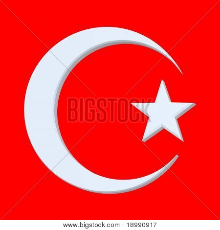 White Islamic religious sign isolated on red. 3d computer generated photo rendering.