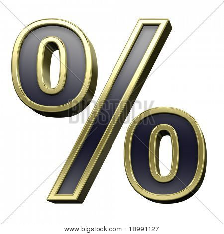 Percent sign from black with gold shiny frame alphabet set, isolated on white. Computer generated 3D photo rendering.