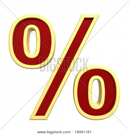Percent sign from ruby with gold frame alphabet set, isolated on white. Computer generated 3D photo rendering.