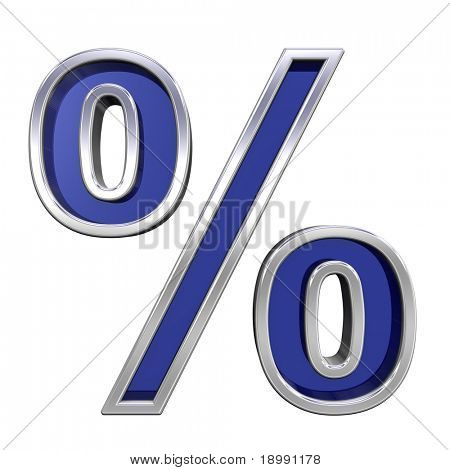 Percent sign from blue glass with chrome frame alphabet set, isolated on white. Computer generated 3D photo rendering.