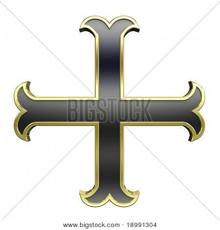 Black with gold frame heraldic cross isolated on white. Computer generated 3D photo rendering.