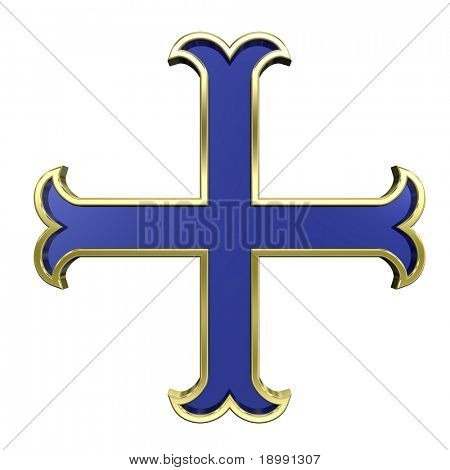 Blue with gold frame heraldic cross isolated on white. Computer generated 3D photo rendering.
