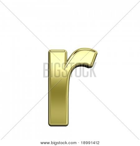 One lower case letter from shiny gold alphabet set, isolated on white. Computer generated 3D photo rendering.