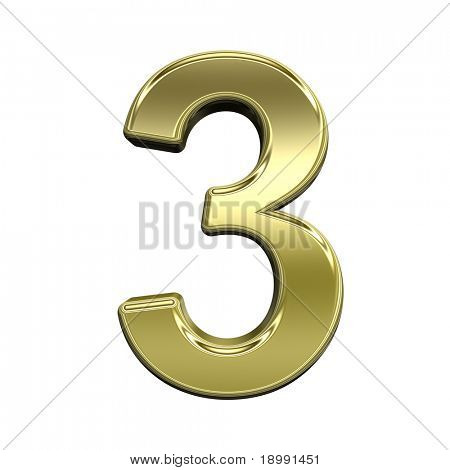 One digit from shiny gold alphabet set, isolated on white. Computer generated 3D photo rendering.