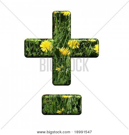 Hyphen, minus, plus marks from floral alphabet set, isolated on white. Computer generated 3D photo rendering.