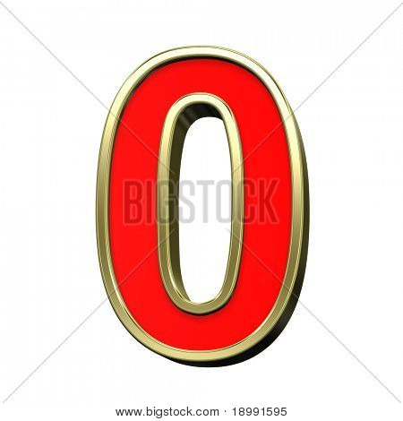 One digit from red with gold shiny frame alphabet set, isolated on white. Computer generated 3D photo rendering.