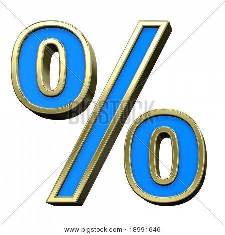 Percent sign from turquoise with gold shiny frame alphabet set, isolated on white. Computer generated 3D photo rendering.
