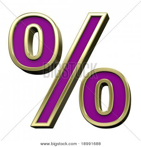Percent sign from violet with gold shiny frame alphabet set, isolated on white. Computer generated 3D photo rendering.