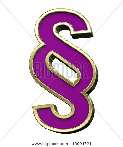 Paragraph sign violet with gold shiny frame alphabet set, isolated on white. Computer generated 3D photo rendering.