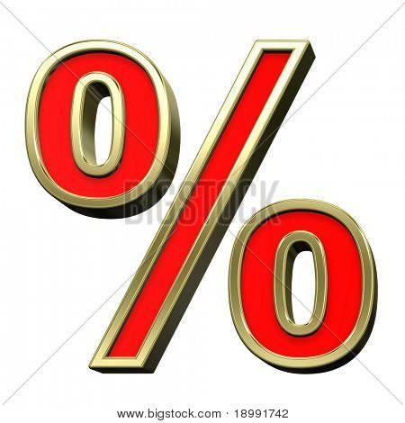 Percent sign from red with gold shiny frame alphabet set, isolated on white. Computer generated 3D photo rendering.
