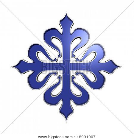 The cross of Calatrava. Sapphire with silver frame heraldic cross. Computer generated 3D photo rendering.