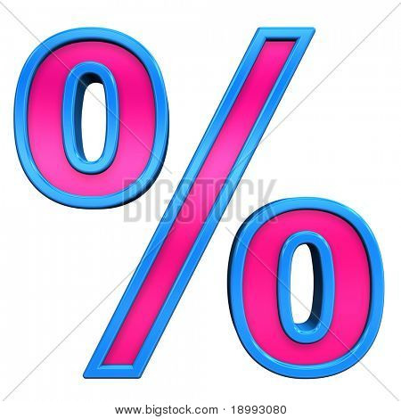 Percent sign from pink with blue frame alphabet set, isolated on white. Computer generated 3D photo rendering.