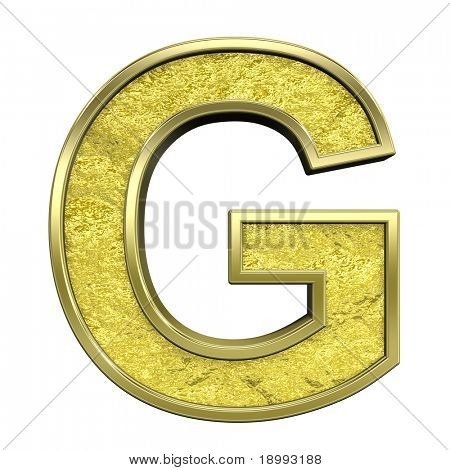 One letter from gold cast alphabet set, isolated on white. Computer generated 3D photo rendering.
