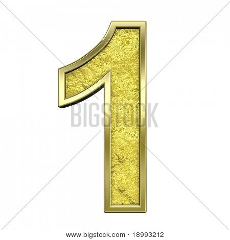 One digit from gold cast alphabet set, isolated on white. Computer generated 3D photo rendering.