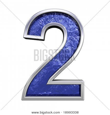 One digit from blue glass cast with chrome frame alphabet set, isolated on white. Computer generated 3D photo rendering.