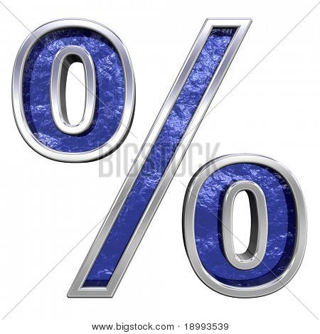Percent sign from blue glass cast with chrome frame alphabet set, isolated on white. Computer generated 3D photo rendering.