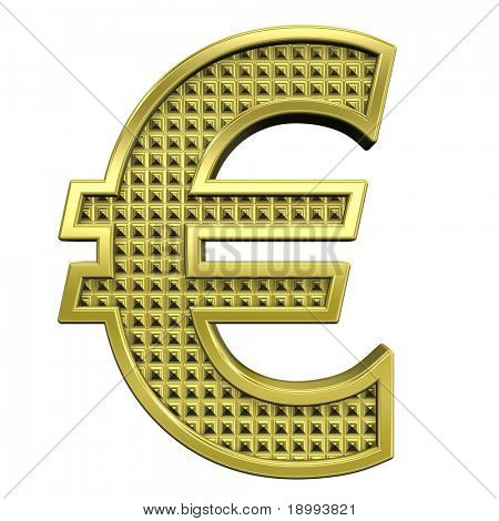 Euro sign from knurled gold alphabet set, isolated on white. Computer generated 3D photo rendering.