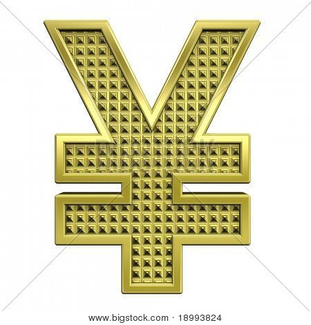 Yen sign from knurled gold alphabet set, isolated on white. Computer generated 3D photo rendering.