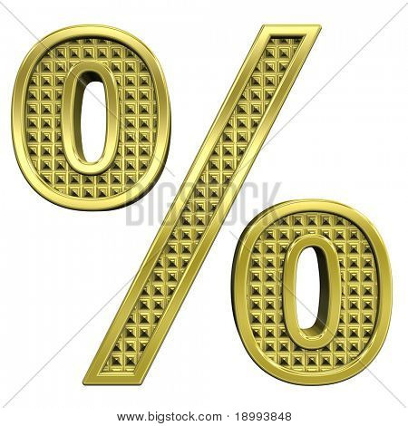 Percent sign from knurled gold alphabet set, isolated on white. Computer generated 3D photo rendering.