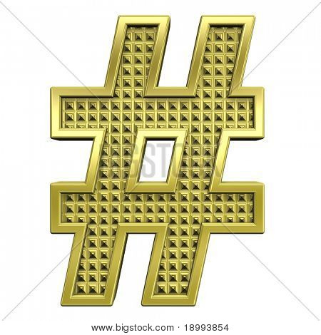 Number mark from knurled gold alphabet set, isolated on white. Computer generated 3D photo rendering.
