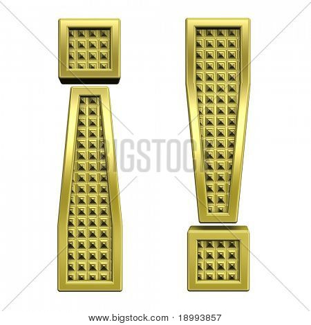 Exclamation mark from knurled gold alphabet set, isolated on white. Computer generated 3D photo rendering.