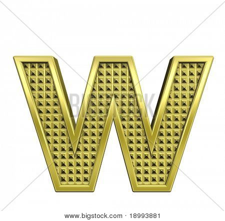 One lower case letter from knurled gold alphabet set, isolated on white. Computer generated 3D photo rendering.