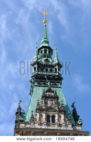 Detail of Hamburg Town Hall on the blue sky background, Germany