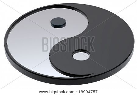 Silver Yin-Yang, symbol of harmony. Computer generated 3D photo rendering.